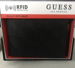 NEW GUESS BLACK BILLFOLD RFID PROTECTION WALLET & VALET 31G0130011 $44