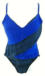 MAGIC SUIT Blue Ruffled Power Net Women's Swimsuit Size 16 See Measurements