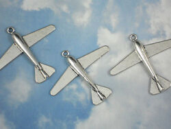 3 Large Plane Pendants Silver Tone Charms Vintage Look Airplane 50mm #P872 $3.95
