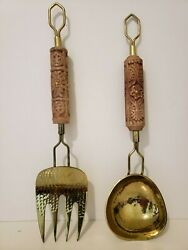 Anthropologie Serving Utensil Set - Wood and Gold Tone