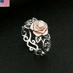 USA Solid Sterling Silver 925 Rose Flower Ring Ladies Women Valentine's Day Gift