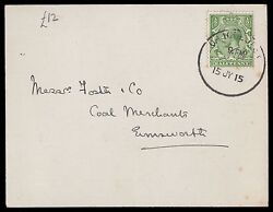 SG351 1 2d. Green used in Chichester on commercial post card.