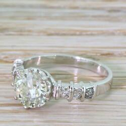 MID CENTURY 1.35ct OLD EUROPEAN CUT DIAMOND ENGAGEMENT RING - 18k Gold - c 1950