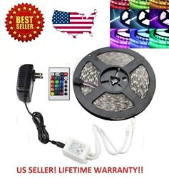 16FT  RGB Waterproof LED Strip light SMD 24 Key Remote 12V US Power Full Kit $12.99