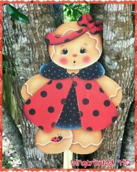 HP Wooden Yard Stake Gingerbread Lawn Decoration Yard Art Sign Ladybug Red