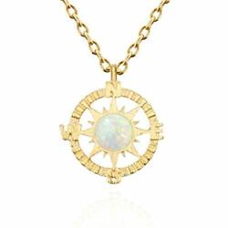 MUSTHAVE Compass 14K Rose Gold Plated Dainty Opal Necklace & Anchor Chain +