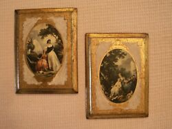 Vintage Victorian Plaques Made in Italy Wooden Gold Gilt Wall Art PAIR 8