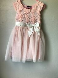 Pretty Fancy Girls Dress Size 4 Light Salmon Color Good Condition $9.90