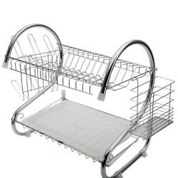 2 Tiers Kitchen Storage Drying Rack Drainer Dryer Tray Dish Cup Holder NEW US $20.99