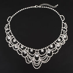 Fashion Women's Luxury Tassel Rhinestone Party Ball Necklace Clavicle Chain