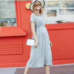 Long Maternity Dress Casual Clothes For Ladies Pregnancy Comfy Fit Short Sleeves $41.59