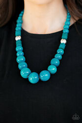 Paparazzi jewelry Blue Wooden Bead Necklace with earrings New
