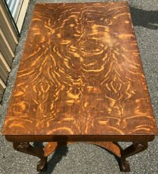 Antique Tiger Oak Mission LibraryDesk Table w Chair - RARE!