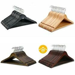 Solid Wooden Suit Hangers Natural Finish Anti-rust Hooks Non-slip Bar 20 Pack