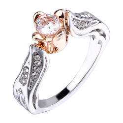 Women Small Rose Flower Ring Promise Engagement Ring Wedding Jewelry Size 6-10
