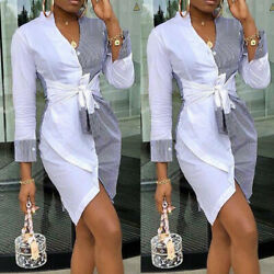 US Sexy Women Long Sleeve Bandage Bodycon Evening Party Cocktail Club Mini Dress