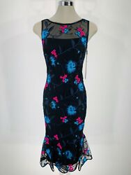 Calvin Klein NWT Elegant Cocktail Black Floral Embroidery Sheath Dress size 2 6 $52.22