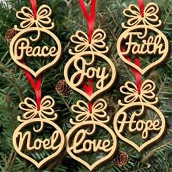 6PCS Christmas Tree Wooden Hollow Hanging Ornaments Decoration Xmas Gift