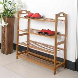 4 Tiers Bamboo Shoe Rack Storage Save Space Shoes Shelf Wooden Organizer vd-8