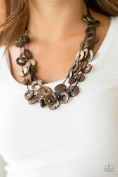 Paparazzi jewelry Brown Wooden Bead Walla Walla Necklace with earrings New