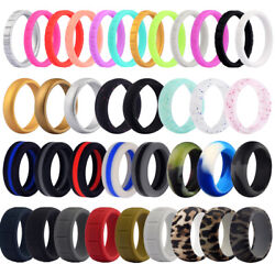 Flexible Silicone Wedding Ring Men Women Engagement Sport Rubber Band Size 4 14 $5.59
