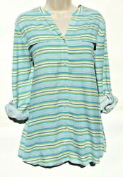 Investments Size Medium Silk Beach Top stripes Button Down  Sea Blue NWOT