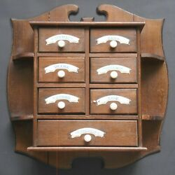 Antique 7-Drawer Wall-Mounted Spice Rack with Painted Enamel Drawer Labels