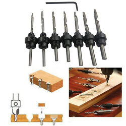 22PC Tapered Drill & Countersink Bit Screw Set Wood Pilot Hole Woodworking Tool