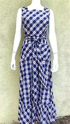 Grown Up Blue White Check Pinafore Maxi Dress 1970s $65.00