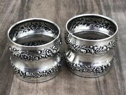 Antique Gorham Sterling Silver Set of Two Floral Scroll Table Napkin Ring Holder