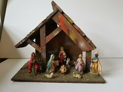 Vintage Italian Italy Christmas Nativity Scene Wooden Stable Manger Wood Creche