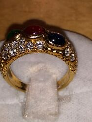 France Fred 18k Yellow Gold Ladies Three Stones Diamonds Ring