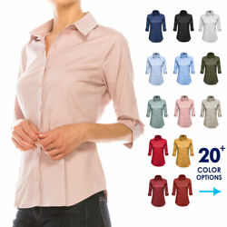 Women Button Down Shirt Blouse 3 4 Sleeve Collared Office Work Dress Top Plus