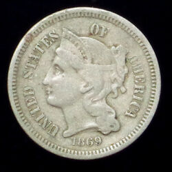 RARE 1869 THREE CENT NICKEL ~ BEAUTIFUL ANTIQUE 3c COIN ~ FREE SHIPPING