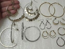 Large hoop earrings with rhinestones enamel and other pierced earring sets