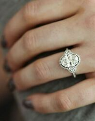 Certified 2.89 Ct White Oval Diamond Engagement Ring In Solid 14K White Gold