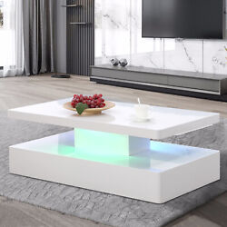 White LED Lighting Modern High Gloss Coffee Table w Remote Control Living Room $1203.99