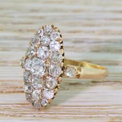 VICTORIAN 2.00ct OLD MINE CUT DIAMOND NAVETTE RING - 18k Ring - French c 1900