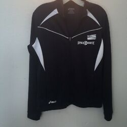 Asics Jacket Hawaii Vollyball Spike & Serve Navy Blue & White Zip Front Size M