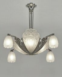 EJG : signed FRENCH ART DECO CHANDELIER ........... lustre  1930 muller era lamp