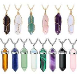 Natural Gemstone Necklace Chakra Stone Pendant Energy Healing Crystal with Chain
