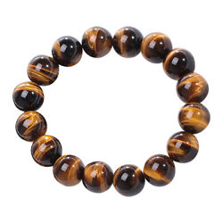 8MM Natural Tiger Eye Stone Lucky Bless Beads Bracelet Bangle Men Women Jewelry