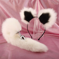 Fox Tail And Ears Anal-Butt Plug Romance Game Funny Toy CAT Cosplay Black White