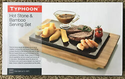 New TYPHOON HOT STONE & BAMBOO SERVING SET Granite for Cooking Hot or Cold Food
