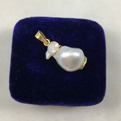 18k Solid Yellow Gold & Baroque Pearl Pendant Stamped 750 W Gold Filled Chain