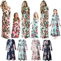 Women Girls Mom Daughter Floral Maxi Dress Evening Party Cocktail Dress Beach