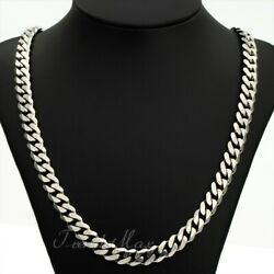 9MM 18-30inch Stainless Steel Silver Tone Curb Cuban Link Chain Necklace Jewelry