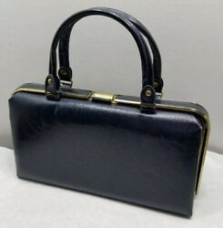 Vintage DOVER USA Blue Hinged Faux Leather Top Latch Purse Handbag - Very Nice