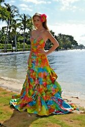 NEW silk Bohemian Wedding Dress destination beach Blue pink white tie dye gown M