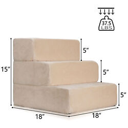 3 Steps Pet Stairs Cat step Ladder Dog Climb Ramp Washable Animal Bed Cushion $23.99